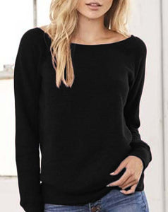 Wide Neck Black Slouchy Sweatshirt