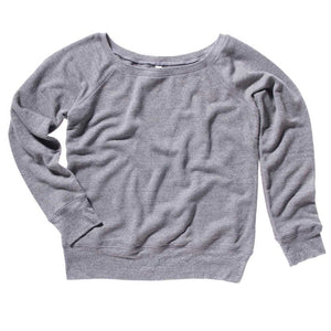 Wide Neck Heather Grey Slouchy Sweatshirt