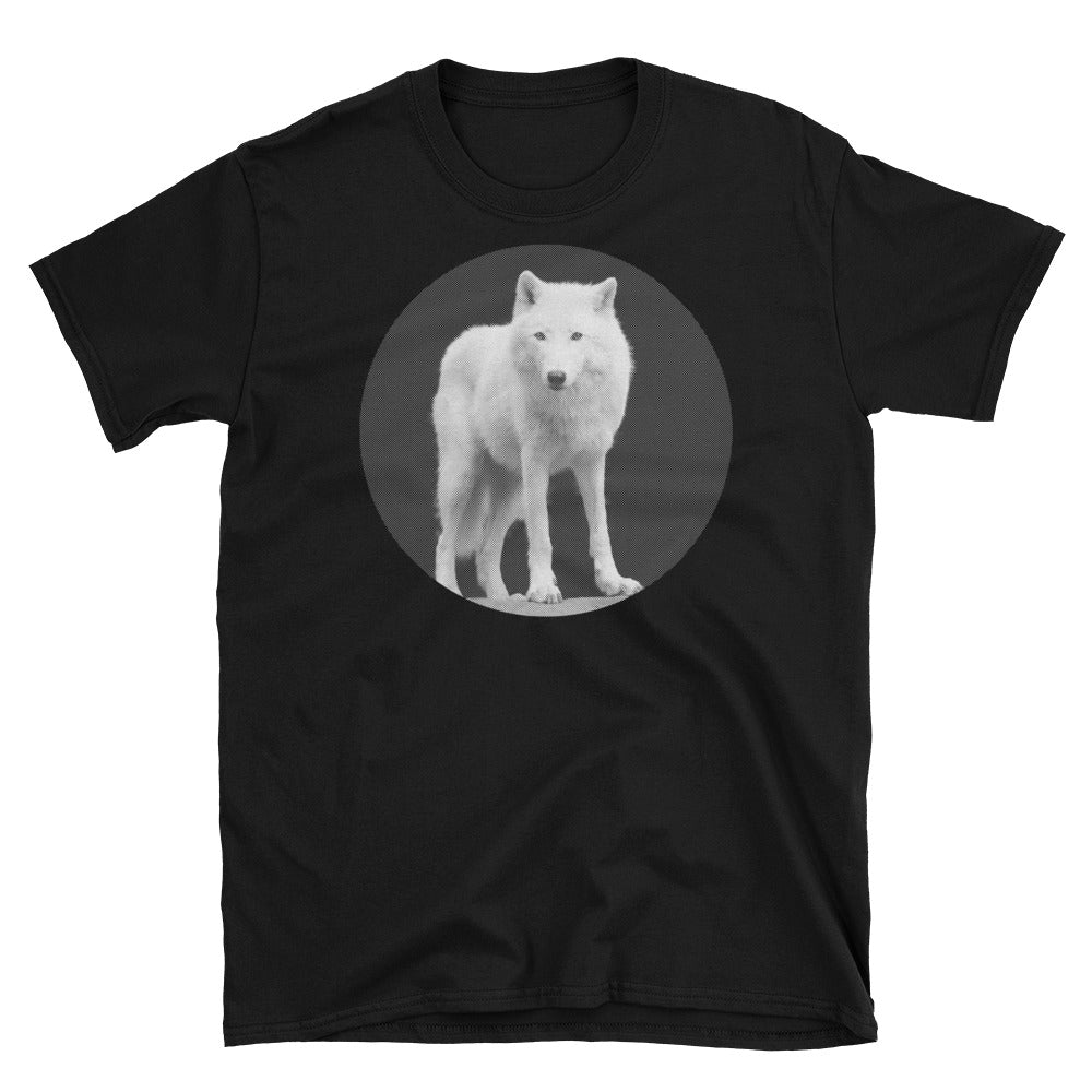 White Wolf on Black T-shirt (Men's Cut)