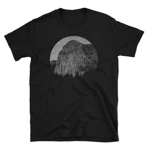 Yosemite Rocks Grey Print on Black T-Shirt