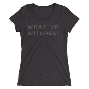 What Up Witches Minimal Tee - Gray on Black