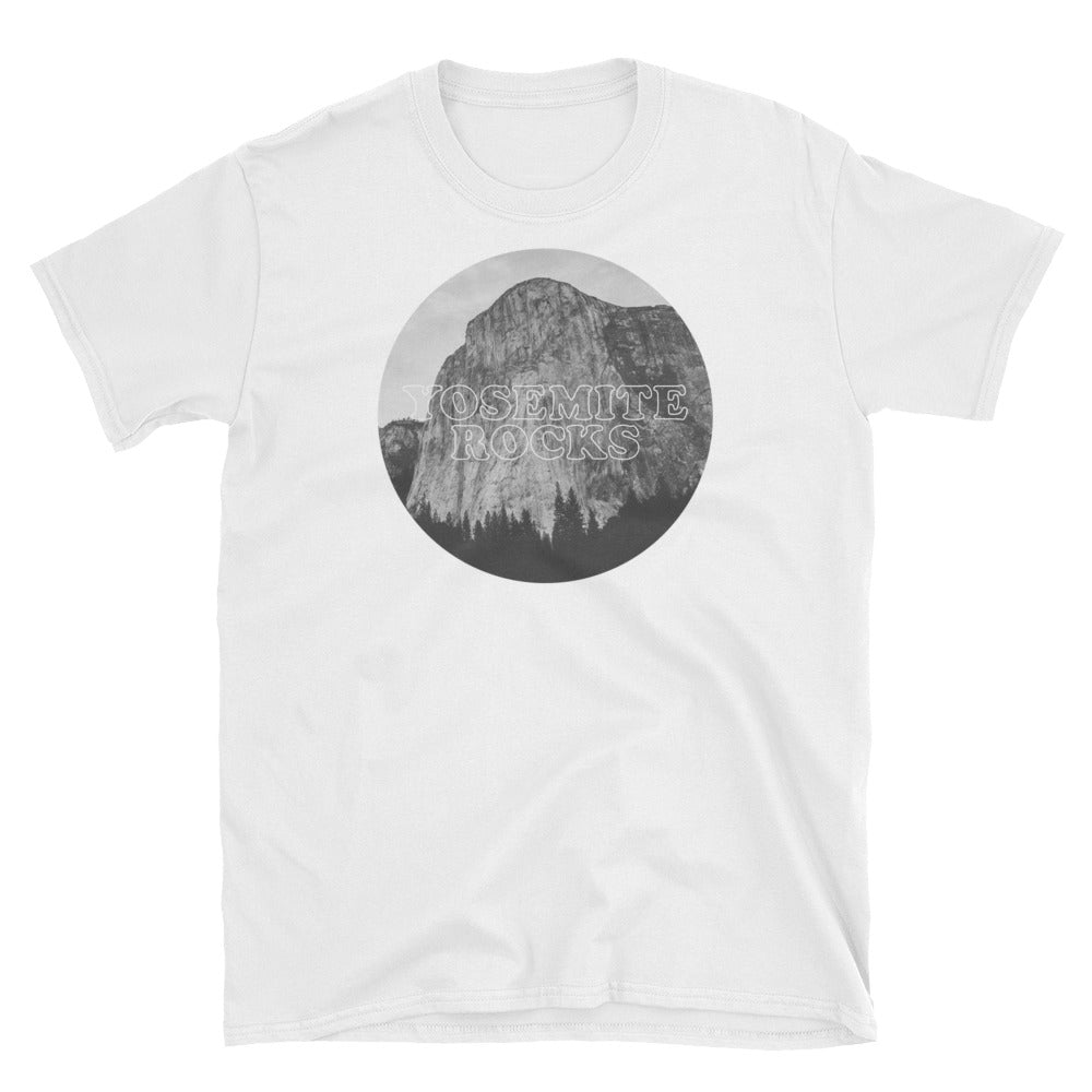 Yosemite Rocks Black and White Image on White T-Shirt
