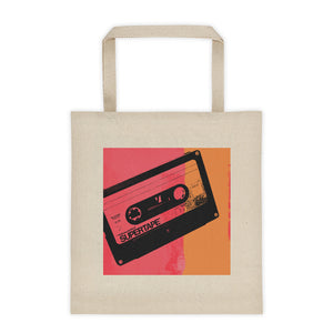 Supertape - Mix Tape - Hot Pink and Orange - Art by Grafik Girl - Canvas Tote bag