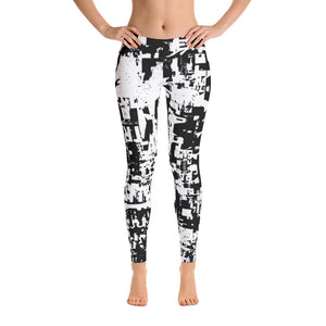 Traffic Jam Grunge Print Black and White Leggings