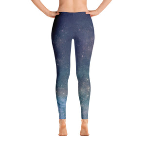 Blue Navy Galaxy Print Leggings