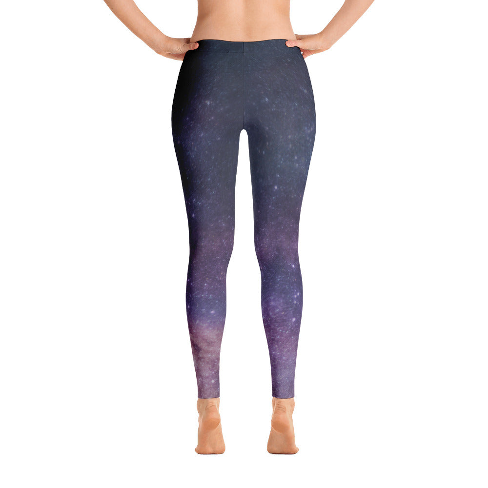 Milky Way Galaxy Print Yoga Pants - Leggings - Purple