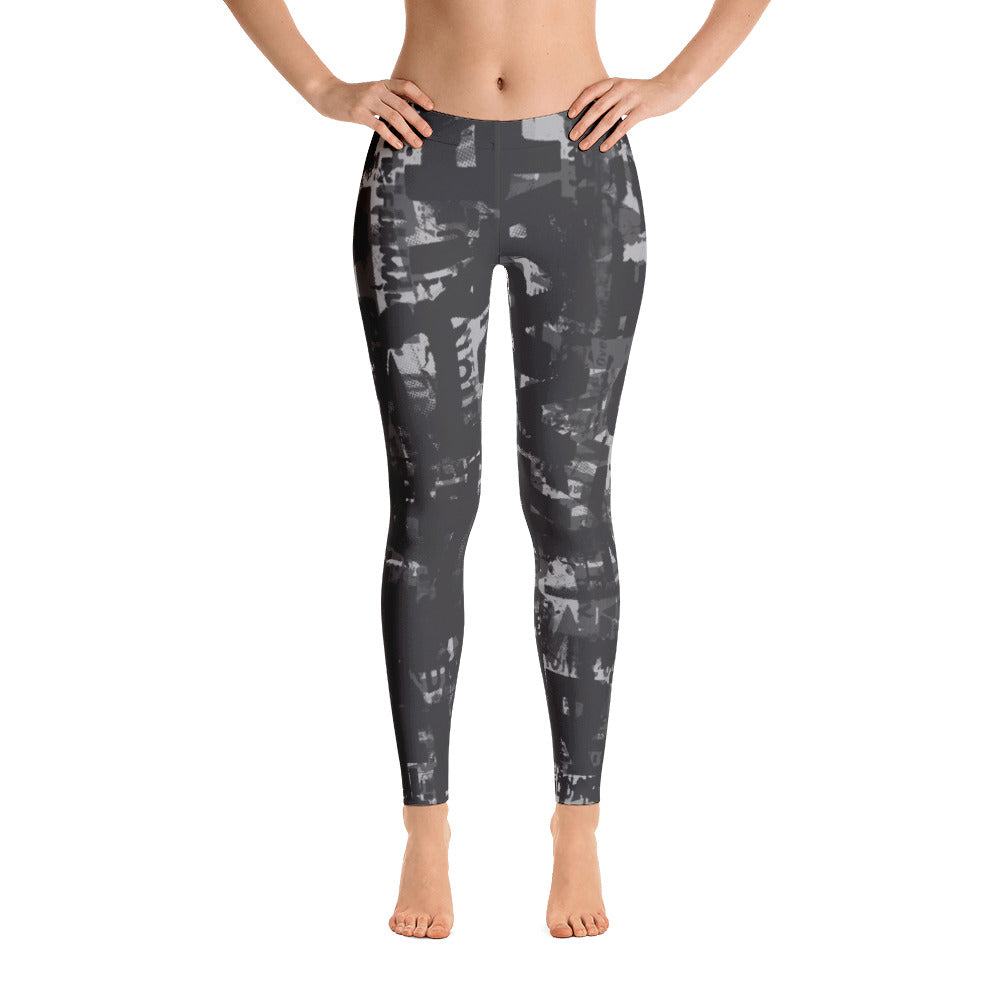 Charcoal Gray and Black Grunge Print Leggings by Grafik Girl