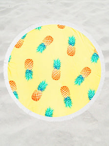 Large Round Pineapple Print Beach Towel