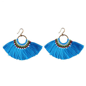 Fringe Tassel Fan Earrings - Bright Blue