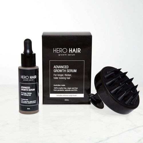 Hero Hair Growth Serum prevents your hair from falling further. Use at first sign of receding hairline for men and women. Vegan hair growth serum.