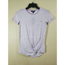 Load image into Gallery viewer, Lauren Ralph Lauren women's purple striped tie front shirt size XXS