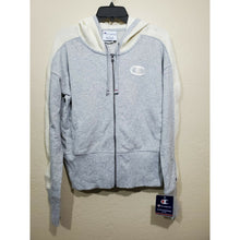 Load image into Gallery viewer, Champion women's gray heritage herringbone zip up hoodie size S