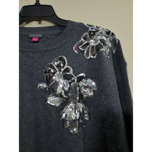 Vince Camuto women's gray sequin blouse size XL
