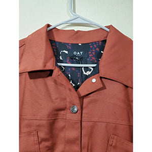Oat NY women's brown print lining cropped button up jacket size XL