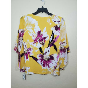 JM Collection women's multi colored floral print blouse size M