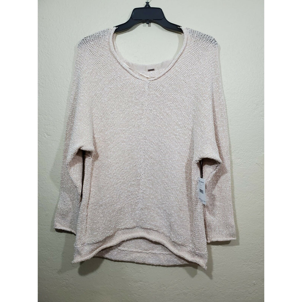 Free People women's beige knit sweater blouse size XL