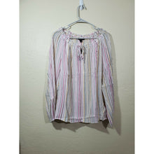 Load image into Gallery viewer, INC women's multi colored striped peasant blouse size L