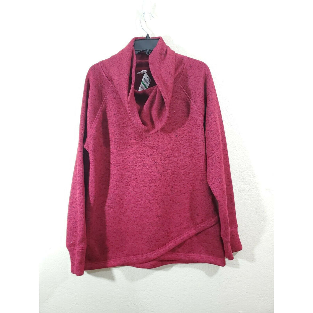 ideology women's red cowl neck pullover active top size L