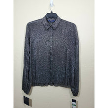 Load image into Gallery viewer, Rachel Roy women's black metallic sheer button up blouse size L