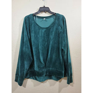 Ideology women's green velvet hi-low sweatshirt size XXL