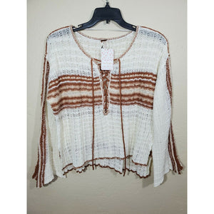 Free People women's crochet knit crop blouse size L