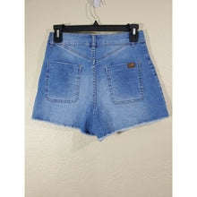 Load image into Gallery viewer, Roxy women's light wash frayed jeans shorts size 27