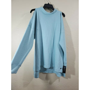 Ideology women's light blue high neck cold shoulder pullover active top size 1X
