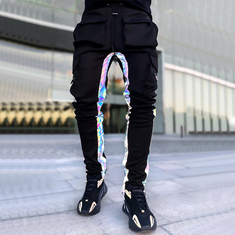 Mens fashion reflective striped solid color casual pants
