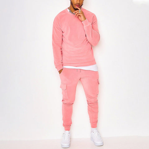 Mens pink sports casual long-sleeved jogging pants suit