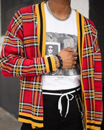Street fashion casual plaid texture cardigan