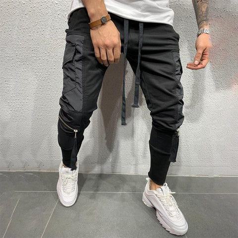 Man's Fashion Splicing Elastic Casual Trousers