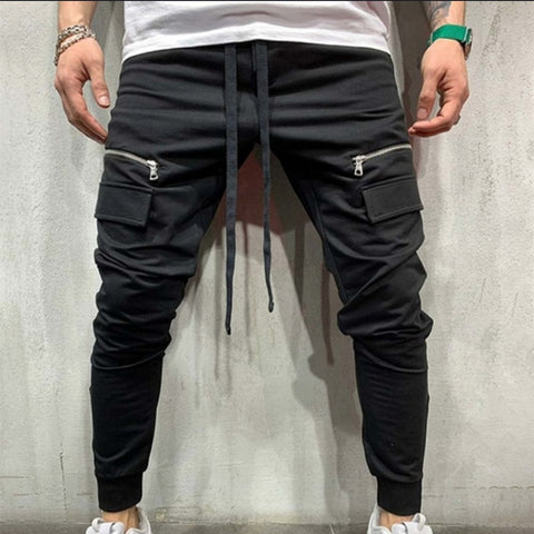 Men's fitness slim personality hip-hop feet sports trousers