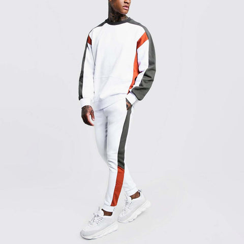 MenS Hooded Patch Solid Color Sports Suit