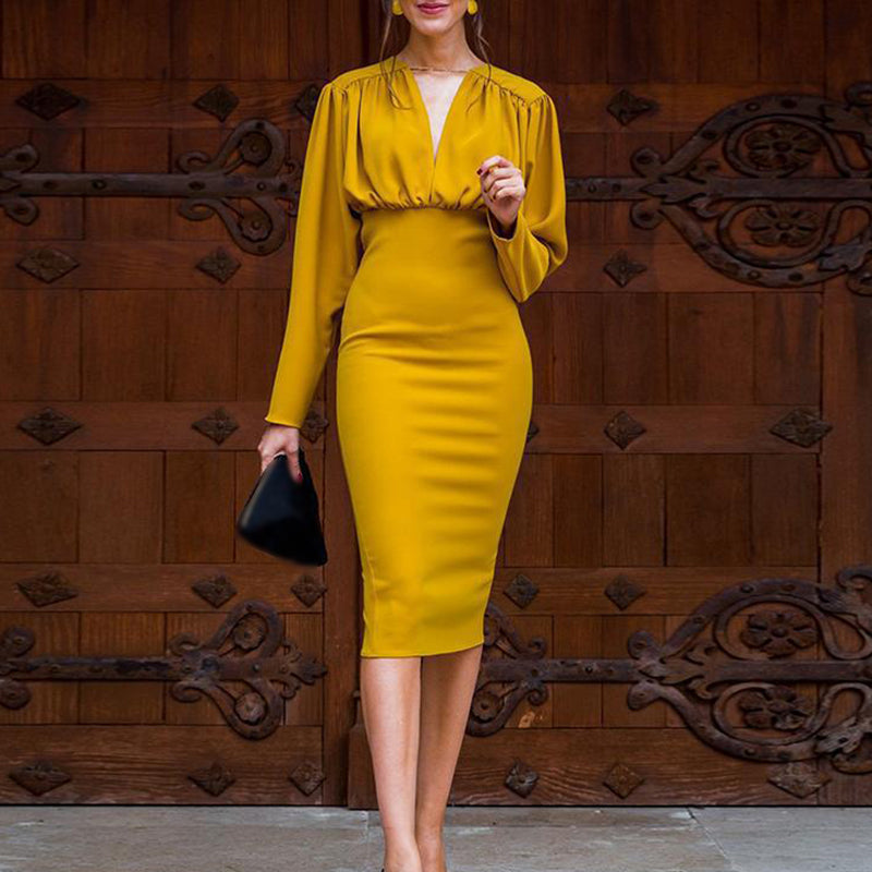 Women's V-neck sexy slim long-sleeved bag hip evening dress