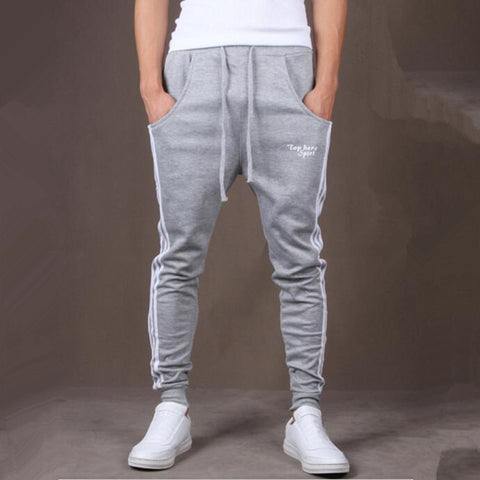 Side vertical stripes men's sports casual pants