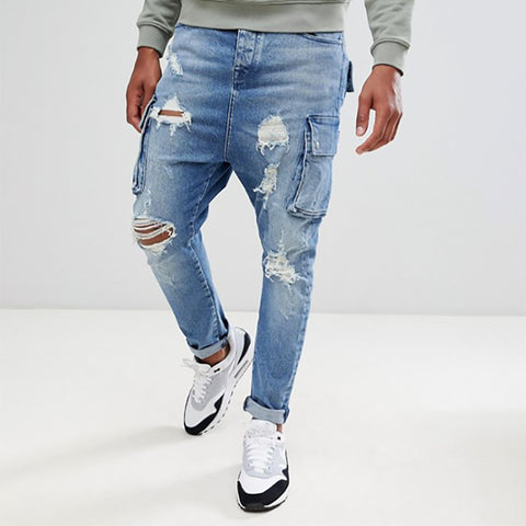 Men's Ripped Jeans Casual Street Denim Slim Patchwork