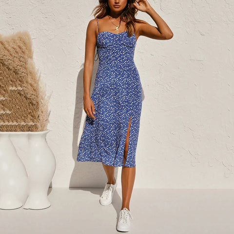 Sweetheart Neck Floral Print Midi Dress