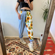 New Trend Sunflowers Printed Light Blue Jeans