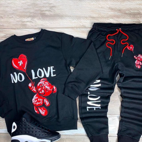New men's no love bear print hoodie and casual pants suit