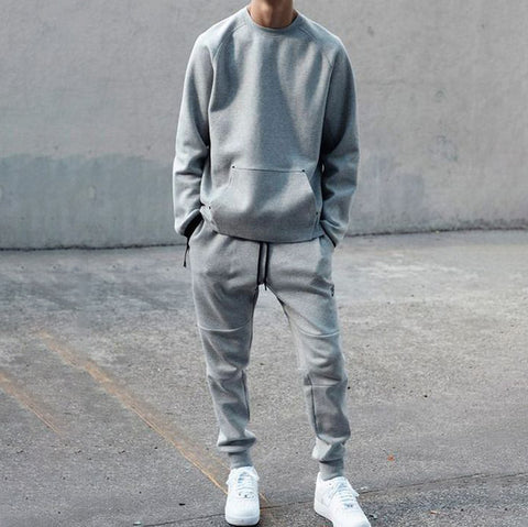 Men's round neck sweater sports suit
