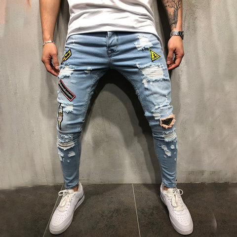 Men's casual fashion ripped slim-fit denim trousers