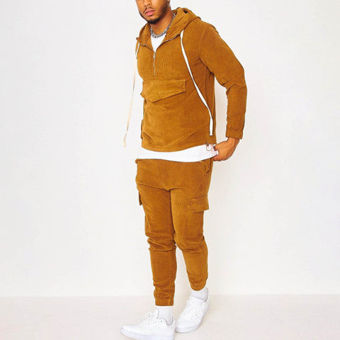 Mens brown casual sports suit