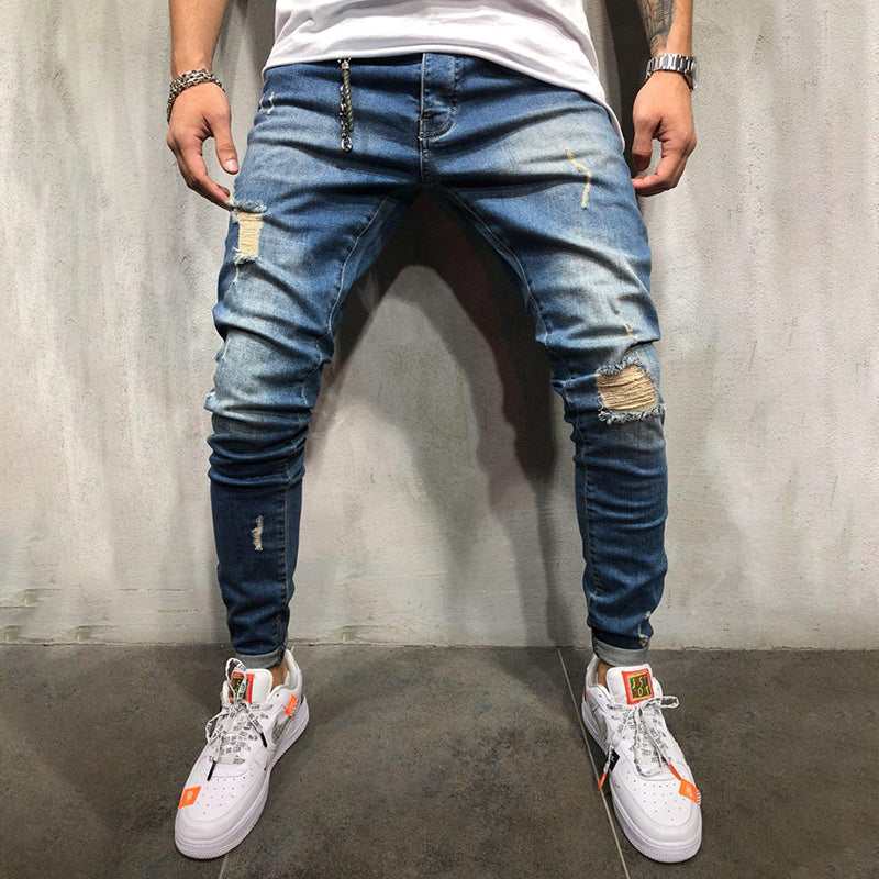 Men's casual fashion ripped slim-fit denim trousers TT230
