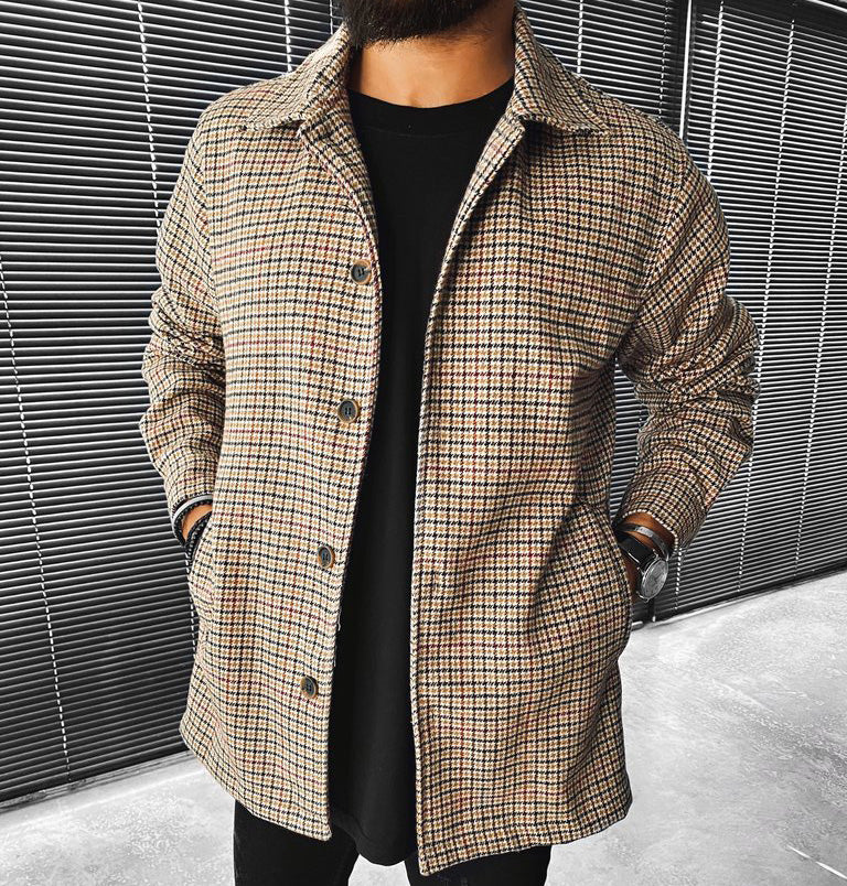 Fashion Check Textured Long Sleeve Jacket