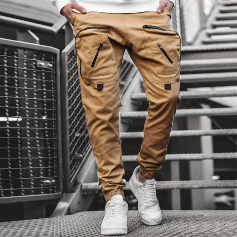 Mens woven casual pants tooling pocket quick-drying trouser