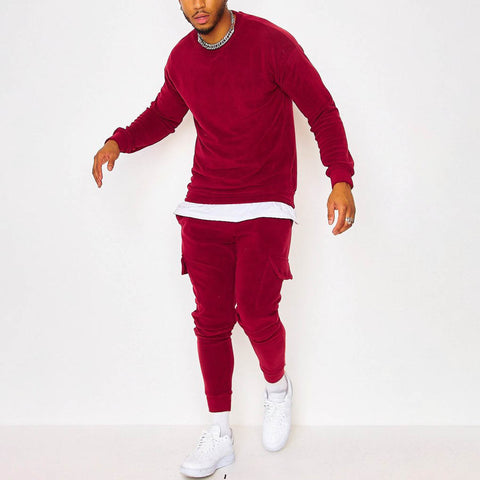 Mens Bokendi Red Leisure Sports Suit