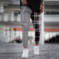 Mens plaid stitching denim trousers