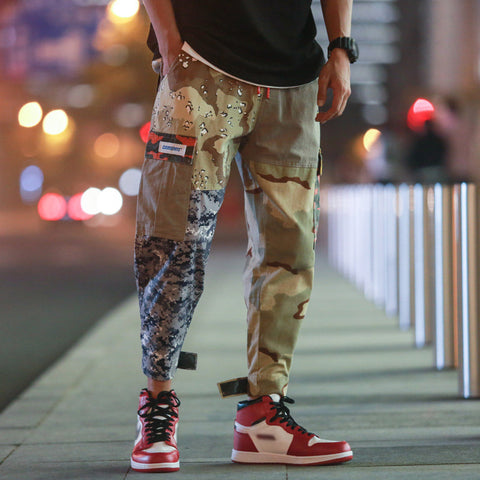 Casual camouflage overalls mens pants