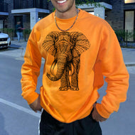 Mens Orange Elephant Print Long Sleeve Sweatshirt