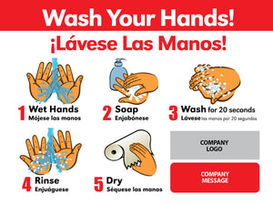 Bilingual Hand Wash Sign with Company Branding